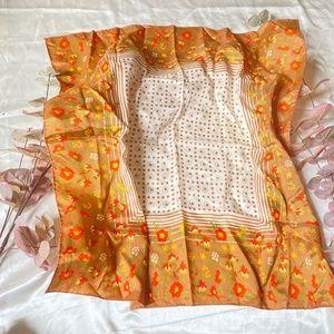 Satin Square Scarf 70's Flower Pattern